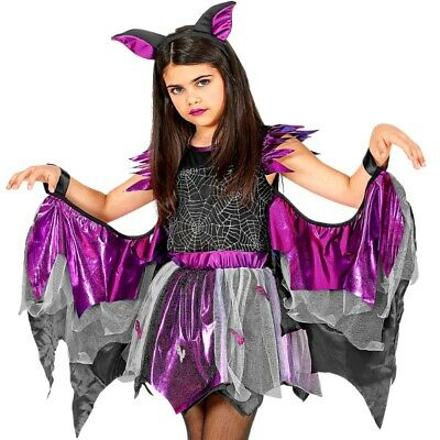 FLEDERMAUS Kinder Mädchen Kostüm Gr. 128 Kleid mit - Fledermaus Kostüm Flügel
