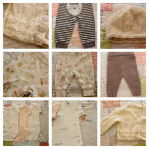 Baby clothes, unisex 0-3 months, Carters & handknit