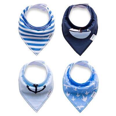 US Blue 4Pcs Infant Kids Baby Feeding Saliva Towel Dribble Triangle Bandana Bibs
