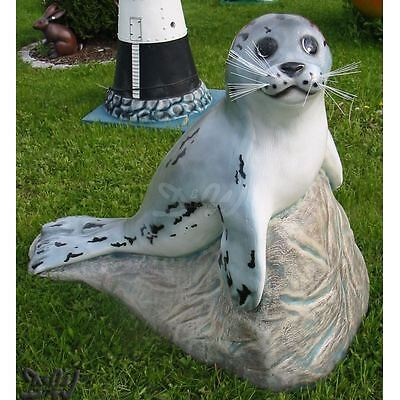 SEEHUND auf FELS ROBBE 99 cm Deko Figur Garten Tier Skulptur lebensgroß Teich