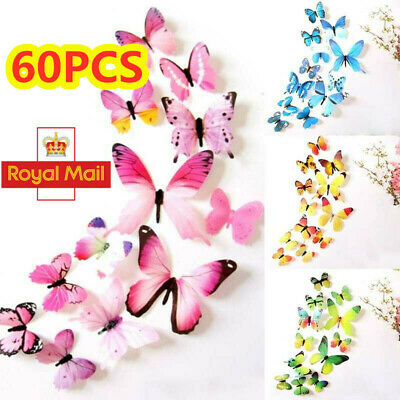 Home Decoration - 60pcs 3D Butterfly Wall Art Decal Stickers Magnet Mural Home Room Decoration DIY