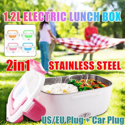 12V US/EU+Car Plug Portable Electric Heated Heating Lunch Bo