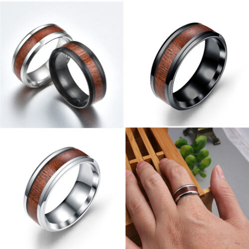 Men's Titanium Stainless Steel Wood Inlaid Rings Wedding Band Ring Jewelry
