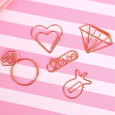5pcs Cute Mini Paper Clips Kawaii Stationery Metal Clear Binder Clips Photos Tic