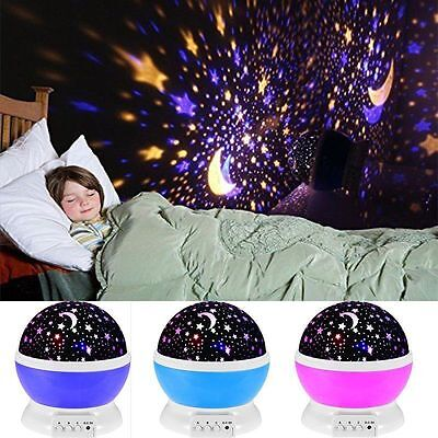 Rotating Led Starry Sky Star Projector Lamps Baby Kids Night Light Cosmos Master