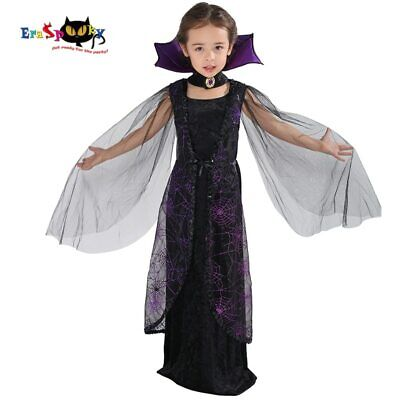 Child Vampire Girl Costume For Halloween (Purple Spider Vampire Cosplay Girls Halloween costume for kids Lace Cape)