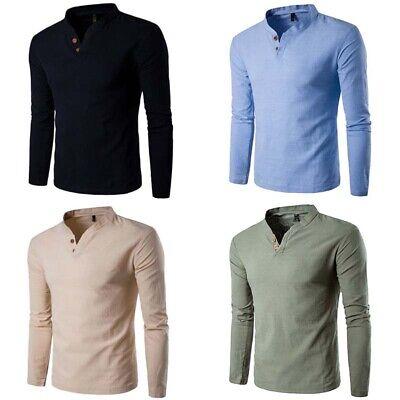 Sleeve Cotton Tops Shirt Men's Casual Shirts Tee Long T Men Slim Fashion Cotton Business Men Casual Shirt