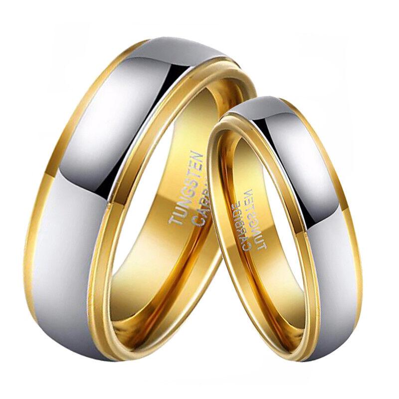 18K Gold Plated Wedding Rings for Men Women Tungsten Engagem