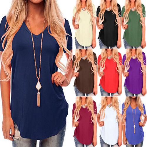 Damen Bluse Kurzarm Longtop Blusen Tops Shirts Tunika Longbluse Casual Übergroße
