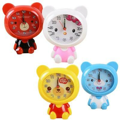 (Mini Cartoon Alarm Clock Cute Portable Bear Home Desk Cute Children Round Gift)