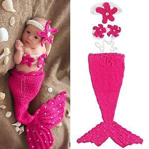 Infant Baby Girls Newborn Mermaid Crochet Outfit Dress Photo Prop Hat Costume