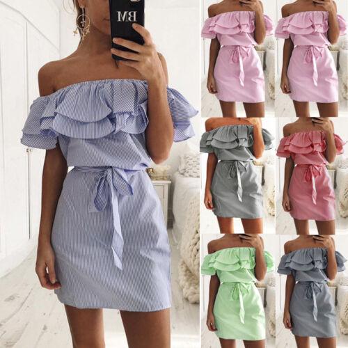 Damen Schulterfrei Kariert Strandkleid Top Sommer Minikleid Party Tunika Kleider