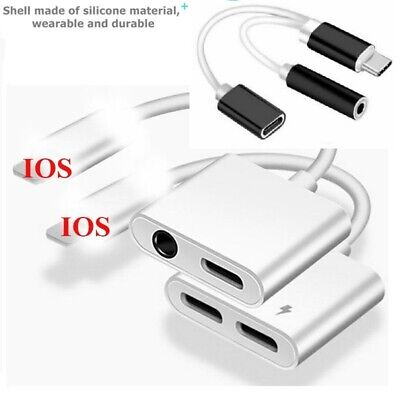 2 in 1 Audio Adapter charging Cable For iPhone 7 8 X XS Aux Jack Lighting 3.5 mm