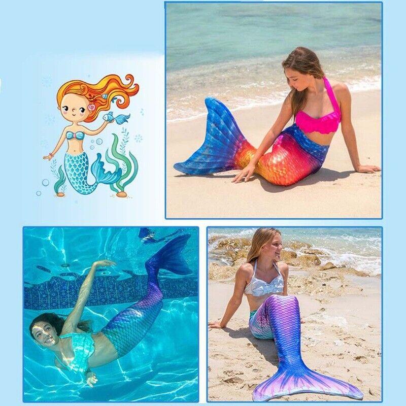 Badeanzug Monoflosse Kostüm Damen Kinder Meerjungfrau Schwanz Bademode Schwimmen