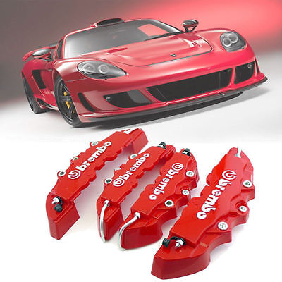 3D Red 4X Brembo Style Car Universal Disc Brake Caliper Covers Front & Rear @GM