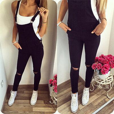 Women Slim Denim Jeans BIB Pants Overalls Straps Jumpsuit Rompers Trousers