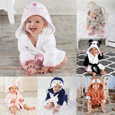 USA Boy Girl Animal Bathrobe Baby Hooded Bath Towel Infant Bathing Honey Baby
