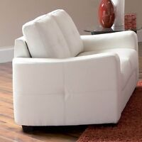 WHITE BONDED LEATHER 2 SEATS COUCH OR LOVE SEAT