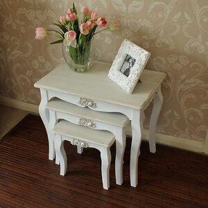 inspiring white shabby chic living room furniture | Antique white wooden rose nest of tables living room ...