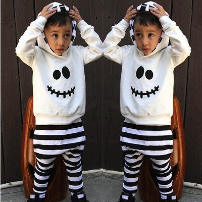 Funny Kids Little Devil Hood Blouse Stripe Pants Halloween Boy Girls Outfits Set - Devil Outfits