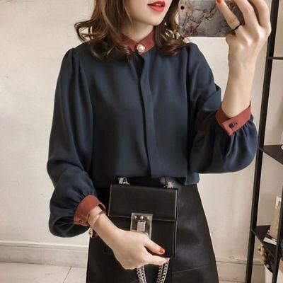 Spring Korean Womens Ladies Plus Size Button Down Shirt Long Sleeve Blouse (Korean Spring)