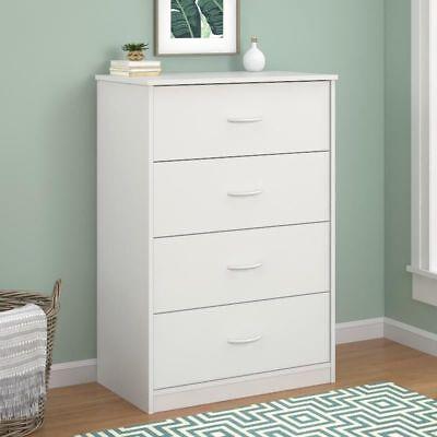 Modern Wooden 4 Drawer Dresser Storage Bedroom Furniture in White Finish New