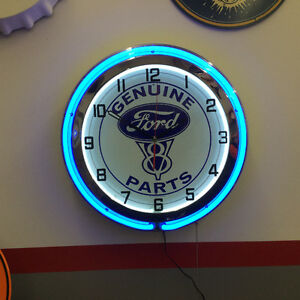 Shop Clock - Double neon - Vintage Ford