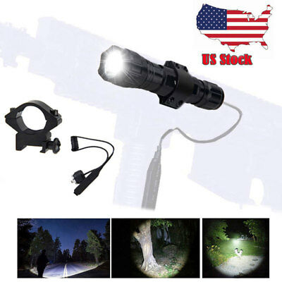 - 5000LM T6 LED Tactical Flashlight Torch Shotgun Remote Pressure Switch Mount USA