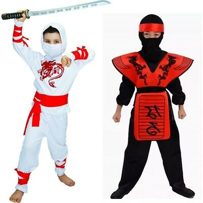 Boys White Ninja Child Costume & Clothes Set Red Ninjago Cosplay for kid](White Ninja Costume For Kids)