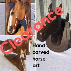 HORSE ART, EQUESTRIAN ART CARVINGS, ALL ONE-OF-A-KIND