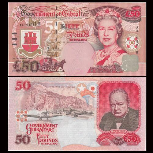 Gibraltar 50 Pounds, 2006, P-34, AA Prefix, QEII, UNC