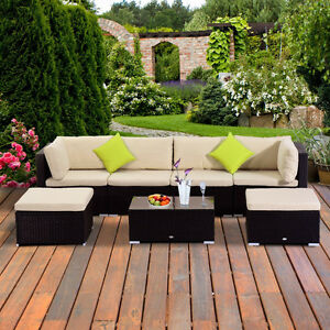 7 pcs Sofa Patio Set with Glass Top Table Outdoor Furniture