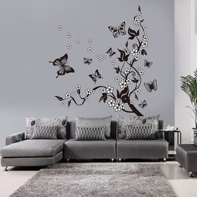 Butterfly Flower Branch Decorative Wall Sticker Home Decor Living Room Mural Art for sale  Shipping to Nigeria