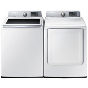 """Samsung WA45H7000AW 27"""" Top Load Washer And DV45H7000EW Dryer"""