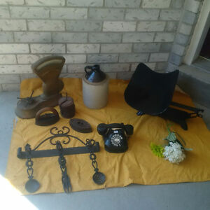 Antique IRONS,WEIGHTS, ,BAKELITE PHONE ** SEE EACH ITEM PRICE *