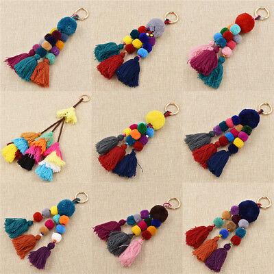 Beaded Keychain (Tassel PomPom Charm Keychain Colorful Wood Beads Hair Ball Bag Pendant)