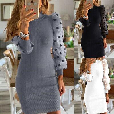Women Jumper Dress Dresses Vintage Polka Dot Long Sleeve Turtle Neck Size 6-18