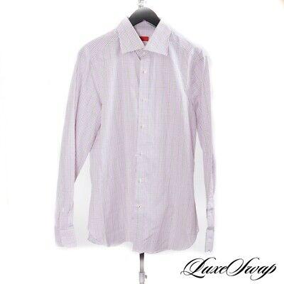 NWT $295 Isaia Napoli Made in Italy Lilac Green Multi Plaid Dress Shirt 16.5 NR