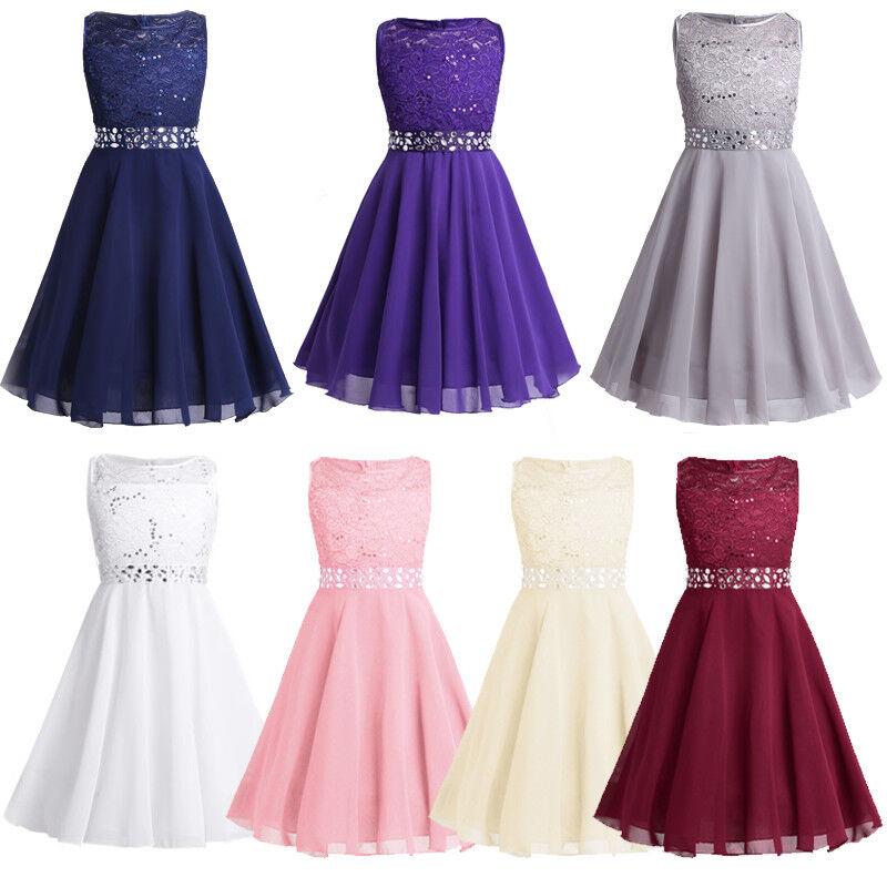 Prinzessin Lace Blumenmädchenkleider für Hochzeits Brautjungfern