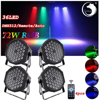 4pcs 36 LED RGB Par Can Stage Lights Flat DMX512 DJ Disco Bar Uplighter Lighting
