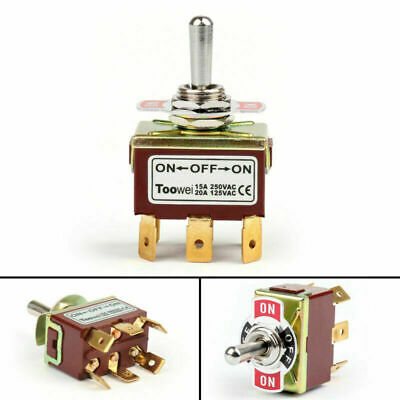 1pcs Toowei 3 Terminal 6pin On-off-on 15a 250v Toggle Switch Lock Dp3t Grade Ca