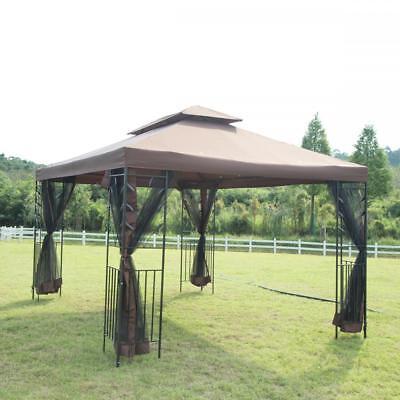 12'X 10' Outdoor Gazebo Steel frame Vented Gazebo w/ Netting Brown N34 ()