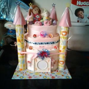 Pink diaper castle surprise (size 1 & 2 diapers and accessories)