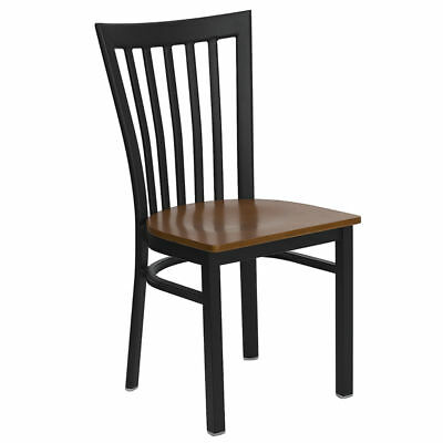 (Metal School House Back Restaurant Chair with Cherry Wood Seat)