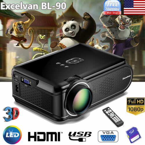 7000LUMEN Full HD 1080P Mini Smart Projector LED 3D Home The