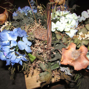 BASKET OF ARTIFICIAL HYDRANGEAS AND OTHER DRIED FLOWERS