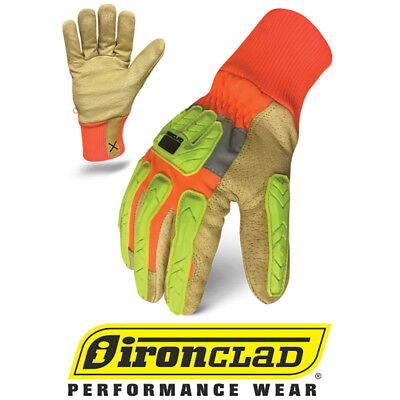 Ironclad Exo Hi-vis Hvip5 Insulated Leather Work Gloves - 12 Pair Bulk Case