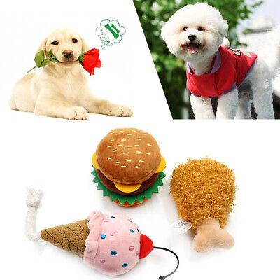 Dog Chew Toy Plush Simulation Hamburger Ice Cream Chicken Leg Shape Playing