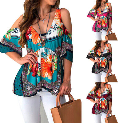 Floral Tunic Shirt (Womens Floral Cold Shoulder Tunic Tops Short Sleeve Blouse Casual Boho T Shirt )