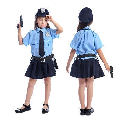 Girls Police Officer Halloween Costume Uniform Cop Cosplay Outfit School Kids